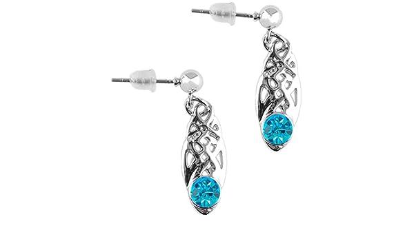 c22c7c8bc Amazon.com: Celtic Birthstone Drop Earrings December Jewellery Silver  Plated Blue Stone Scottish Gift: Jewelry