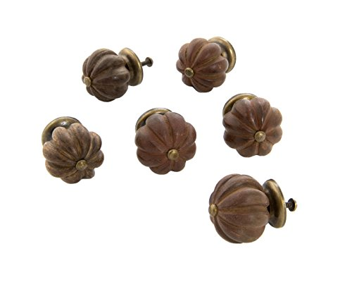 Dritz Home 47067A Wood Fluted Ball Knob, Med Brown, 6 ea, 6 Piece ()