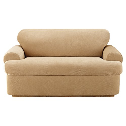 SureFit Stretch Pique T-Cushion Loveseat, Cream, 3 piece (A Loveseat T Cushion What Is)