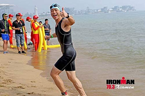 qualidyne Tri Suits for Men Trisuit Triathlon Duathlon Running Swimming Cycling Sleeveless Skinsuit with 2 Pockets and Padded Soft Chamois