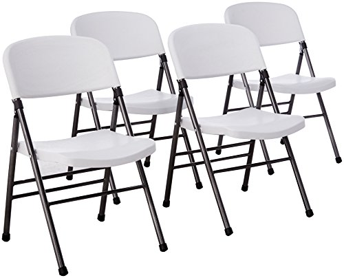 Cosco Resin Folding Chair with Molded Seat and Back White Speckle 4-pack