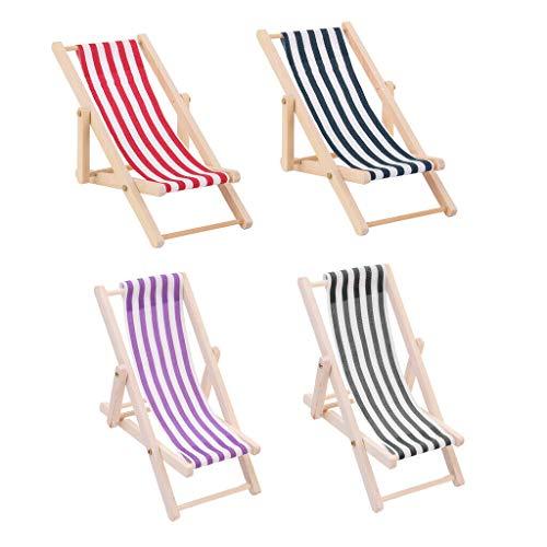 NATFUR 1:12 Dollhouse Beach Furniture Foldable Deckchair Lounge Chair Stripe 4pcs
