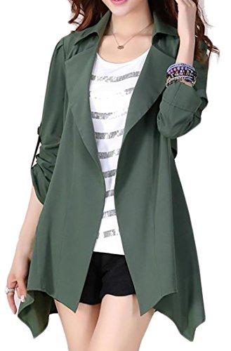 Cruiize Women's Elegant Autumn Thin Open Front Irregular Trench Coat Green X-Large