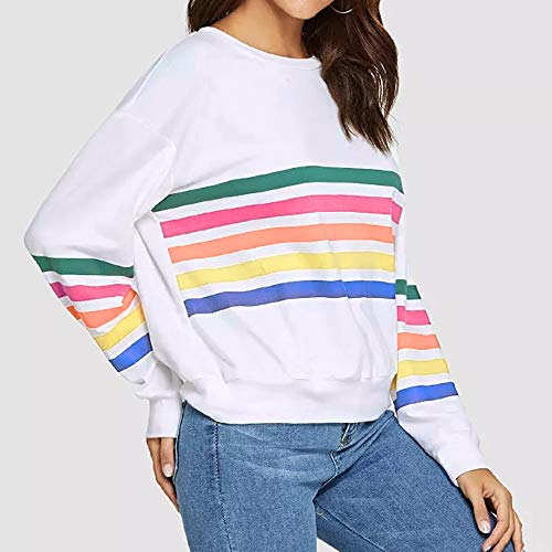 Kemilove Women Round Neck Simple Color Casual Long Sleeve Stripe Print Pullover Blouse Shirts Sweatshirt by Kemilove (Image #3)