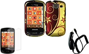 Elegant Swirl Design Hard Case Cover+LCD Screen Protector+Car Charger for Samsung Brightside U380