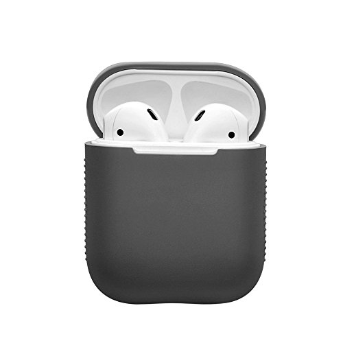 EloBeth for PodSkinz AirPods Case Protective Silicone Cover, AirPods Cover and Skins Shock Proof Protective for Apple Airpods Charging Case (Deep Gray)