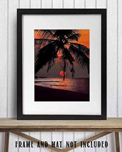 - Orange Sunset Palm Trees- 8 x 10'-Wall Art Print- Ready to Frame. Beautiful Beach Décor- Tropical Island Beach Sunsets- Makes the Perfect Art for Any Room. Great Gift of Beach Pictures Wall Art.
