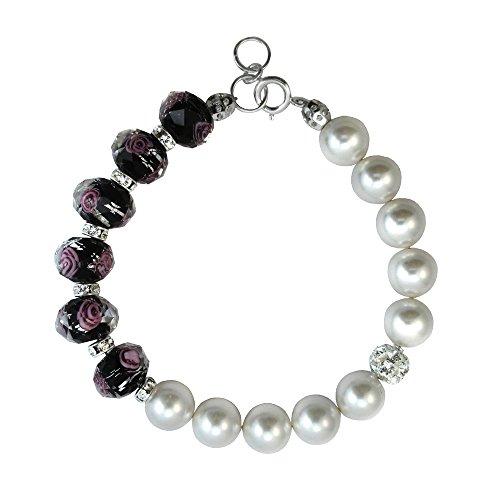 Bracelet Made with Black Faceted Lampwork Glass and Swarovski Crystal Elements 7,8,9