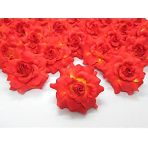 """(100) Silk Orange Roses Flower Head - 1.75"""" - Artificial Flowers Heads Fabric Floral Supplies Wholesale Lot for Wedding Flowers Accessories Make Bridal Hair Clips Headbands Dress 2"""