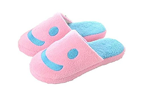 VISKEY Smiley Keeping Warm Cotton Slippers for Woman,Pink,US Size in 6-6.5
