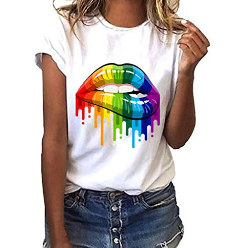 Women's Graphic T-Shirt- Funny Graffiti Lips Print Short Sved Tops Casual Loose Graphic Tees Blouse