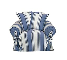 Classic Slipcovers Printed Classic Stripe Canvas Chair Slipcover, Blue