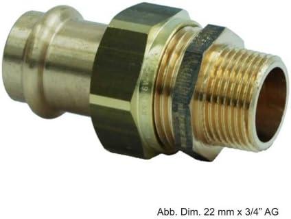 265700 Viega Verschraubung mit SC Sanpress 2263 flachdichtend in 28 mm x G1 1//4 Rotguss