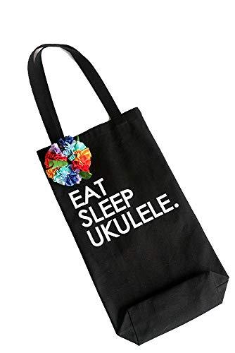 - ukuhappy Eat Sleep Ukulele Ukulele bag Black Canvas Tote Bag Rainbow Ribbon lei included