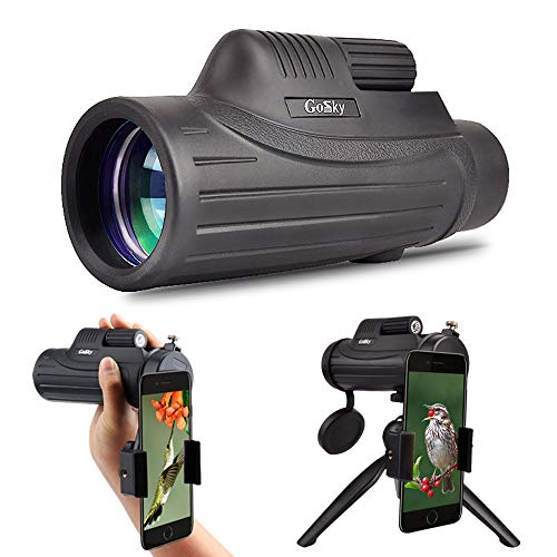 Gosky 12x50 Monocular Telescope with Smartphone Adapter and Tripod - BAK4 Prism FMC Lens, for Birding Travelling Wildlife Secenery Concerts Ball Games