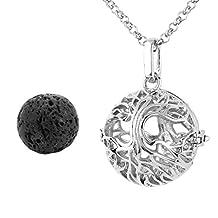 Top Plaza Chakra Healing Crystal Gemstone Bead Openable Tree of Life Locket Pendant Necklace - Lava Stone