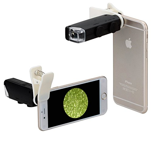Efanr® Universal Mini 60X-100X Mobile Phone LED Light Illuminated Magnifier Magnification Optical Zoom Microscope Lens Black for iPhone Samsung Galaxy Google Nexus Sony HTC and other Cellphones