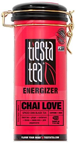 Tiesta Tea Chai Love Spiced Chai Black Tea, 50 Servings, 4 Ounce Tin - High Caffeine, Loose Leaf Black Tea Energizer Blend, Non-GMO