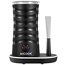Milk Frother, AICOOK Electric Milk Steamer Soft Foam Maker for Hot and Cold Milk Froth, Cappuccino, Coffee, Latte, Double Wall Milk Warmer Heater with Non-Stick Interior, Strix Control