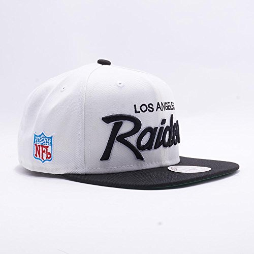 d0076990e03e4 Mitchell   Ness Los Angeles Raiders White and Black Vintage Script N.W.A  Adjustable Snapback Hat NFL