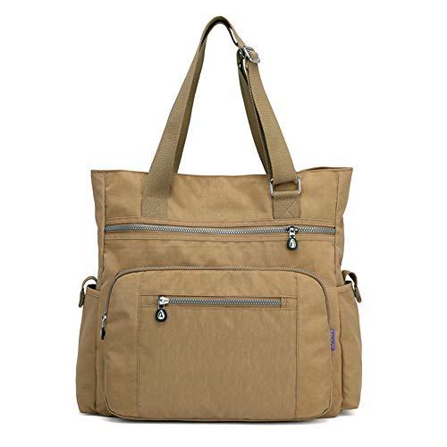 Women's Shoulder Bag Or Big Capacity Nylon Work Bag Tote Stylish Handbags Purse (Beige)]()