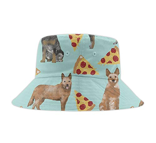 Cotton Packable Fishing Hunting Sun Hats Travel Twill Bucket Cap Hat Australian Cattle Dog Pizzas ()