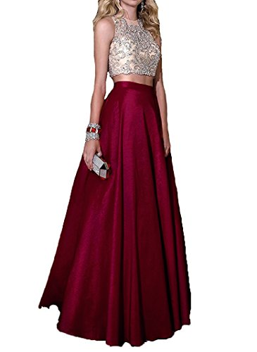 Momoai 2 Piece Beaded Bodice Ball Gown Crystal Prom Party Dresses Long M006 by Momoai