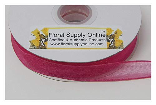 #3 Monofilament Edge Sheer Organza Ribbon for Floral, Fashion, Craft, Scrapbooking, Gift Wrapping, Hair Bows, Wedding, Baby Shower, and Decorating Projects. (5/8 Inch x 25 Yard, Fuchsia)
