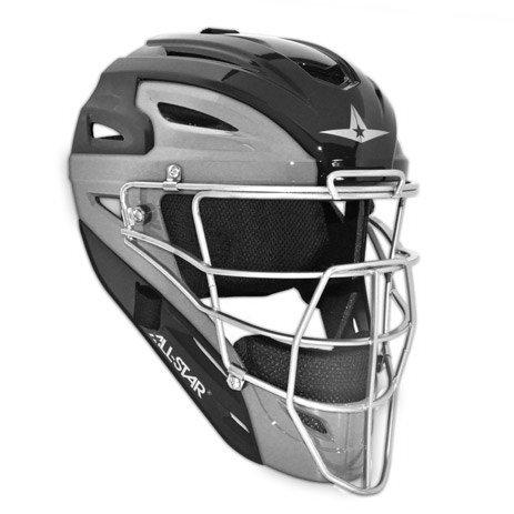 All Star Adult Pro Model 2-Tone Blk/Sil Catcher's Helmet ()