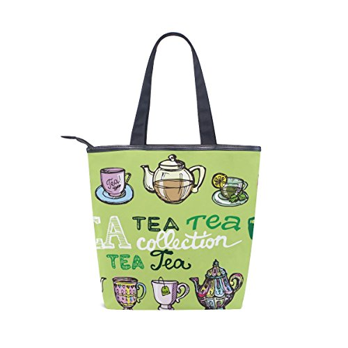 Womens Cup Colorful Shoulder Bag Handbag MyDaily Time Teapot Canvas Tote qOIpwY8