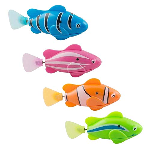 XYKTGH 4 Pack Swimming Robot Fish Electric Turbot Clownfish Water-Activated Bathtub Toys for Toddlers,Boys and Girls(Random Color)