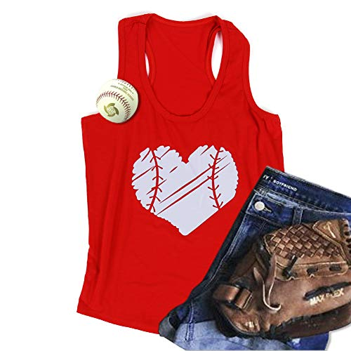 WARMHOL Baseball Mom Heart Print Funny Tank Top Women's Casual Vest Cami T-Shirt Tee Red 3XL