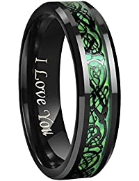 6mm/8mm Green Carbon Fiber Black Celtic Dragon Tungsten Carbide Wedding Band Ring Engraved I Love You Size 4 To 16