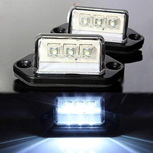 Lot Pratique 10V-30V 3 LED num/éro de plaque dimmatriculation lumi/ère arri/ère lampe de queue de camion remorque camion livraison gratuite Pudincoco 2pcs noir