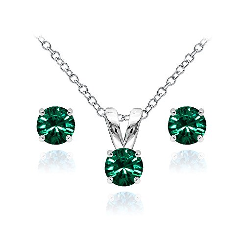 Green May Birthstone Pendant (GemStar USA Sterling Silver Solitaire Green Necklace Stud Earrings Set Created Swarovski Crystals)