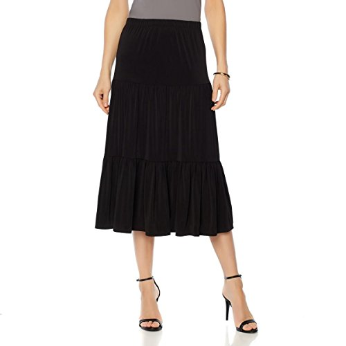 Tiered Peasant Skirt (Slinky Brand Tiered Peasant Skirt Elastic Waistband Knit Black 2X New 553-150)