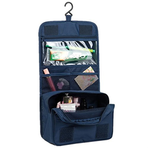 Itraveller Portable Hanging Toiletry Bag/ Portable Travel Organizer Cosmetic Bag for Women Makeup or Men Shaving Kit with Hanging Hook for vacation (Dark Blue) (L Cosmetic Bag)