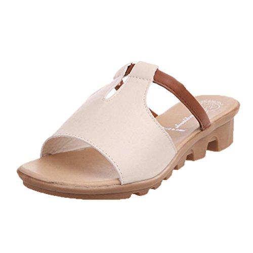 Beige Solid Beach Yogogo d'été Pantoufles Sandales Slides Découpe Femmes Mode FavfvwxqHz