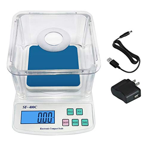 600g/0.01g School Scale Lab Laboratory Balance Digital Scale for School with Square Weighing Pan, Windshield, and USB Charger AC/DC Adapter
