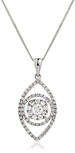 0.50CT Certified G/VS2 Round Brilliant Cut Claw Set Eye Shape Diamond Pendant in 18K White Gold