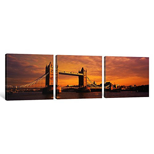iCanvasART 3-Piece Tower Bridge London England Canvas Print by Panoramic Images, 1.5 by 36 by 12-Inch