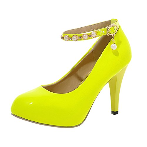 YE Damen Knöchelriemchen Pumps Stiletto High Heels Plateau mit Schnallen und Strass Elegant Schuhe Gelb