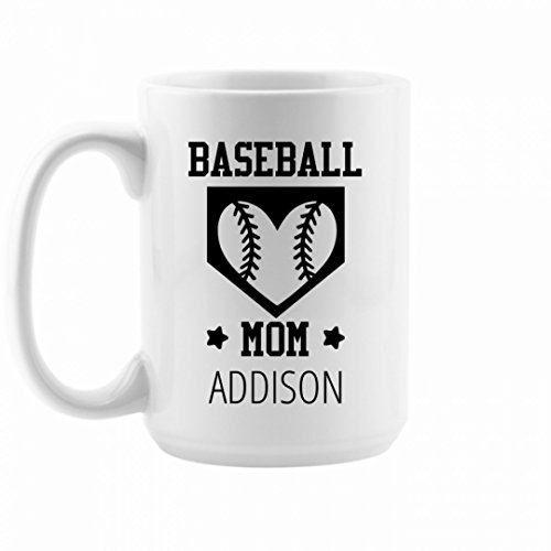 Coffee Baseball Mom Addison: 15oz Ceramic Coffee Mug ()