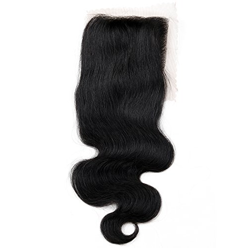 Price comparison product image Golden Rule Human Hair Swiss Lace Closure Bleached Knots Free Part 6A Brazilian Body Wave (44) Natural Color (12 inch)