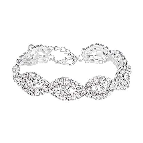 Miraculous Garden Silver Plated Crystal Rhinestone Link Tennis Bracelet for Women Wedding Jewelry Gift (Silver Plated White Crystal)]()