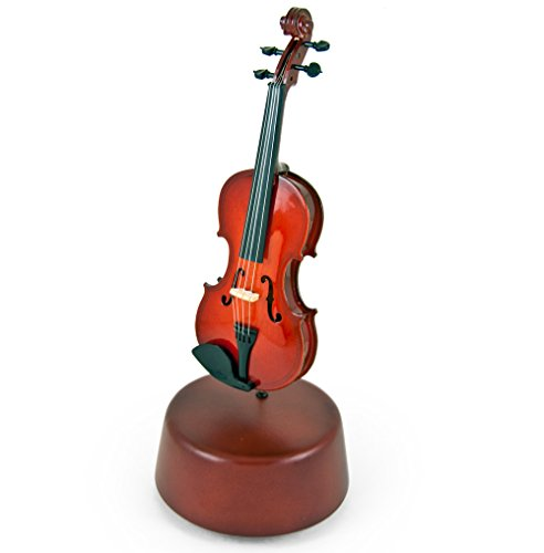 Prestigious 18 Note Miniature Classical Violin with Rotating Musical Base - Over 400 Song Choices - 9th Symphony (Ode to Joy, Hymm European) (Ode To Joy Music Notes For Violin)