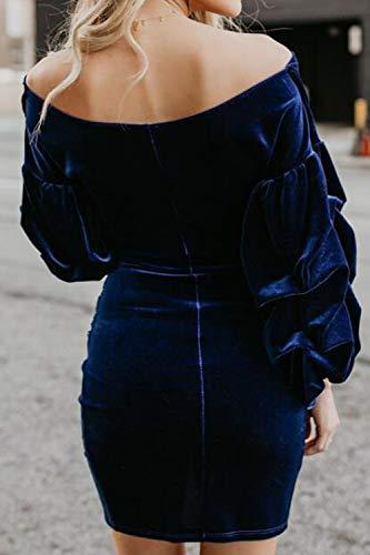 Schouderloos Fluweel Mini Jurken Elegant Fasumava Winter Blauw Bodycon Dames 0aZwWUx