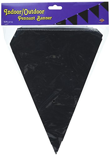 Beistle Indoor/Outdoor Pennant Banner, 10-Inch by 12-Feet, Black -