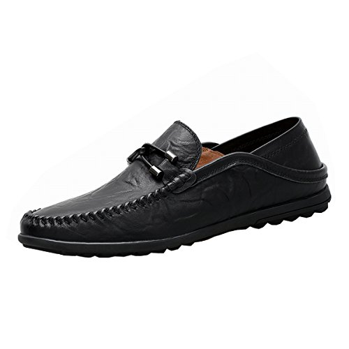 Breathable Slip Premium Slipper Men's Genuine Black2050 Casual on Driving Fashion Leather Shinysky Shoes Loafers H8qwfx
