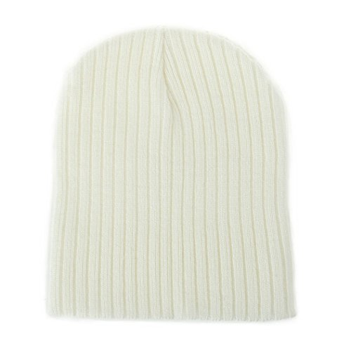 Floralby Infant Newborn Baby Kids Winter Warm Ribbed Beanie Cap Soft Knitted Casual Hat (White) (Beanie Ribbed White)